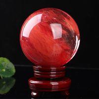 48--55 mm rosso Sfera di cristallo rossa Sfera di cristallo Sfera di cristallo Sfera di cristallo artigianato curativo documentazione per la casa regalo d'arte