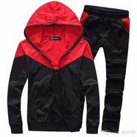 New fashion men sport suit sportswear Lapel Neck tracksuit h...