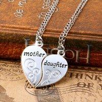 All'ingrosso-2PC argento placcato madre figlia collana d'argento cuore amore mamma collane pendenti per le donne gioielli collier femme p1303