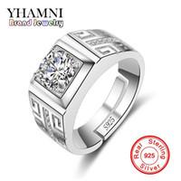 Yhamni الأصلي ريال 925 فضة خواتم للرجل الزفاف خاتم الخطوبة الأزياء الماس والمجوهرات الرجال البنصر NJZ002