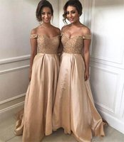 2018 Gorgeous Long Gold Bridesmaid Dresses Off Shoulder Swee...