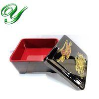 Sushi Bento Box Lunchbox Suppenschüssel Geschirrset Sushi Eel Reis Speiseteller Japan Style Kunststoff 15cm Schwarz Gold haltbarer Behälter