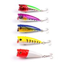 Sıcak satış 5 Renkler PS Boyalı Biyonik ABS Plastik Popper balıkçılık cazibesi 6 cm 6.6g bas balıkçılık için Fly balıkçılık poper crankbait