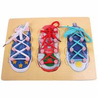 Bonito Aprender Laço Sapato Rendas Brinquedo Ensino Brinquedo Puzzles De Madeira Placa Laço Cadarço Crianças Montessori Brinquedo Educação Infantil