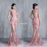 Tony Chaaya robes de soirée sexy sirène 2019 dentelle appliques bijou cou étage longueur robes de bal formelles voir à travers une robe maxi