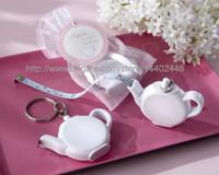 100 sztuk Miłość Brewing Teapot Taśma Pomiarowa Miara Brelok Key Chain Portable Key Pierścień Wedding Party Favor Prezent Darmowa Wysyłka