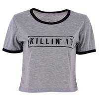 Toptan-Moda Kadınlar 'Killin' Mektubu Baskı Yaz Üst Rahat Patchwork T gömlek 2017 Seksi Ince Komik Üst Tee Kısa Kollu Gömlek