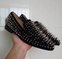 New Luxury Brans Loafers Black Suede Silver Nails Red Bottom...