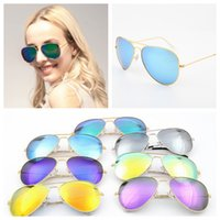 Cheap Branded 58mm Metal Frame Men's / Óculos de sol para mulheres Colorful Flash Lens Sun Glass 50 PCS YYA393