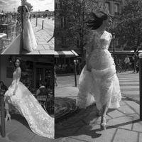Laço do vintage apliques uma linha vestidos de casamento elegante ilusão curva alto pescoço mangas compridas vestidos nupciais bohemian vestidos de novia 2018