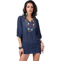 도매 - 21 스타일 새로운 도착 플러스 크기 빈티지 보헤미안 수제 자수 구슬 V 넥 여름 티셔츠 여성 탑 블루스 여성 Femininas