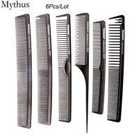 Salon professionnel HairCut Peigne 6Pcs / Lot Peigne De Coiffure Set Antistatique Cheveux Carbone Peigne De Coiffure Outils TG-06