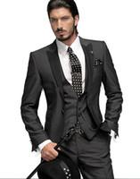 Wholesale- Best man Suit Charcoal One Button Groom Tuxedos For Men Suits Groomsman (Jacket+Pants+Vest) Wedding Tuxedos/ Wedding Suits