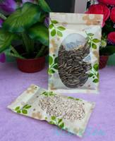 10 * 15 cm, 100 X ön şeffaf pencere zipLock çanta ile baskı, yaprak baskılı fıstık / soya kese açılıp kapanabilir, fasulye çuval
