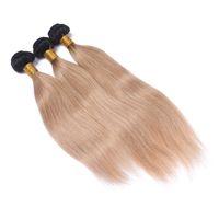 7A 두 톤 ombre 브라질 버진 머리카락 스트레이트 3 번들 색상 1b / 27 블랙 루트 금발 브라질 인간의 머리카락 짜다