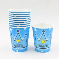 prince crown theme paper cups baby shower wedding decoration boys birthday party supplies drinking cup