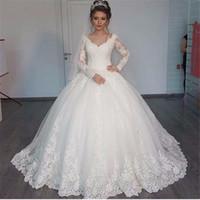 화려한 V 넥 볼 가운 긴 소매 웨딩 드레스 2020 레이스 새해 화이트 웨딩 드레스 가운 데 MARIAGE