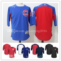 Hommes 17 Kris Bryant Chicago Cubs MLB Maillots de baseball Majestic Royal On-Field 3/4-Sleeve Player Batting Practice Jersey Broderie