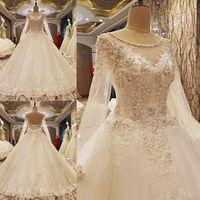 Gerçek Görüntü Uzun Kollu Dantel Gelinlik 2021 Vintage Fildişi Aplikler Boncuklu See rağmen Tül Kabarık Prenses Gelin Elbise