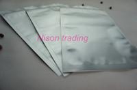 100pcs / lot, 7 * 13cm Pur sac de ziplock de papier d'aluminium-argent blanc mylar sel / poche de fermeture éclair de riz réutilisable, sac de grain de café purement