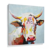 Framed Pure Handpainted Modern Abstract Animal Graffiti Art Oil Painting Cow,On  High Quality Canvas Home Wall Decor Size Can Be Customized