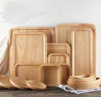 Bandejas de servicio de madera para Fiesta / Hotel / Cena para el hogar Plato de plato Vajilla Caucho Bandeja de madera para bocadillos Fruta Leche Ronda Suqare