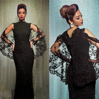 Vintage Black Lace Evening Gowns Sparking Beads Sequins Appl...
