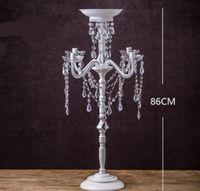 Portavelas de metal blanco 86CM / 35 '' 5 brazos con cristales Candelabro de pilar para bodas Portavelas Candelabros