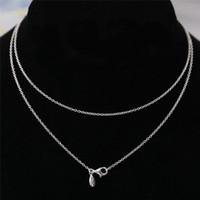 Splendida collana 100% solido 925 sterling argento moda donna gioielli stile europeo per il fascino fai da te perlina JSDN001