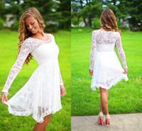Long Sleeves Lace Short Brautkleider Boho Brautkleider Brautkleid Bohemian Brautkleider Günstige Brautkleider Schnelles Verschiffen