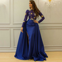 Royal Blue Overskirt Lace Dresses Evening Wear With Long Sle...