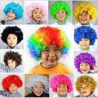 15 색 무지개 아프리카 디스코 광대 가발 모자 아이 성인 의상 축구 팬 가발 머리카락 할로윈 축구 팬 재미 가발 모자
