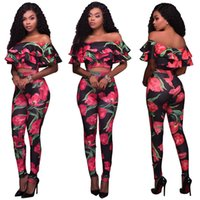 Womens Flower Floral Print Slash Neck Off the Shoulder Tight Evening Terno de duas peças Tracksuit Clubwear