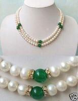 Nouveau collier de perles blanches en jade vert 7-8MM 2Rows