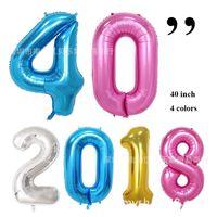 DHL 무료 40 인치 호일 풍선 대형 헬륨 번호 풍선 웨딩 장식 생일 파티 기념품 호의 황금 실버 핑크 블루