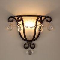 크리 에이 티브 레트로 거실 침실 램프 크리스탈 LED 유리 벽 조명 통로 계단 철 Arte 벽 램프 빈티지 E27