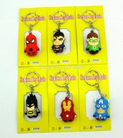 Die Rächer Iron Man keychain Anhänger Handy Gurt Captain America Spider Man Superman Batman Figuren 100 teile / los