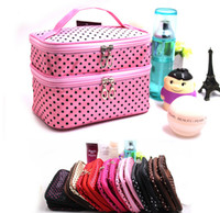 osmetic Bag Double Layer Dot Pattern Travel Toiletry Bag Org...