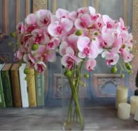 Bella disposizione 78 centimetri di seta artificiale Phalaenopsis farfalla orchidea fiore foglia vaso per la decorazione di compleanno di nozze