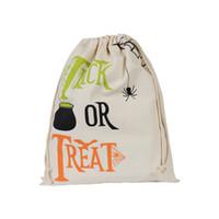 Bolsas de regalo de Halloween 34 cm * 42 cm Truco o invitación de la lona de la Navidad Holloween Calabaza Araña Regalo Regalo Bolsas de la media de Navidad Envío gratis