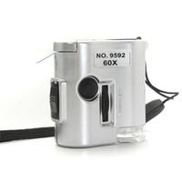 Mini 60x mikroskop Podświetlany Lupa Szkła jubilerska Loupe Loupe Led UV Light Watch Tool