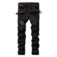 Wholesale- NEW Hi-Street Men Ripped Biker Jeans Pants Leather Patchwork Distressed Denim Slim Fit Straight Trousers Red White Black Jean