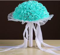 Mão de espuma de laço de buquê de casamento noiva segurando uma simulação de bolha flor rosas ramalhete casamento multicolor 2019