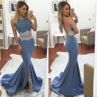 Two Piece Longo Cinza Ardósia Sereia Vestidos de Baile 2017 Sexy Sem Encosto Dividir Frente Halter Formal Evening Celebrity Gowns