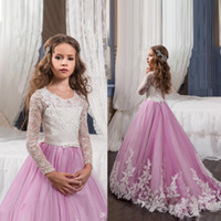 2017 Princess Long Sleeves Lace Flower Girl Dresses Vestidos...