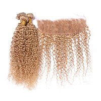 # 27 Honey Blonde Human Human Pein Bundles con encaje Frontal Cierre Kinky Rizado Fresa Rubia Paquete de cabello humano con encaje Frontal 4pcs / Lot