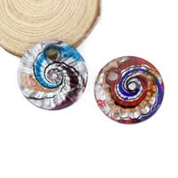 Feuille d'argent ronde Big pendentif Lampwork Glaze pendentifs à la main Fashion bijoux accessoires pour collier 12pcs / pack MC0022