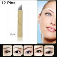 Atacado-50 PCS Permanente Maquiagem Manual PCD 12 ou 14 Pins Needle Blade para Tatuagem de Sobrancelha