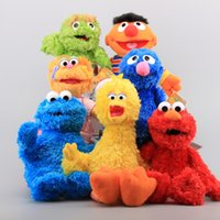 Wholesale-7 Styles Hot Sesame Street Elmo Cookie Grover Girl Zoe Boy Ernie Big Bird Peluche Peluche Bambole morbide per bambini 28-36 cm