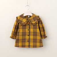 Everweekend Girls Plaid Ruffles Tees Cute Baby Yellow and Gr...